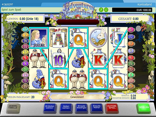 Adventures in Wonderland Casino Spiel