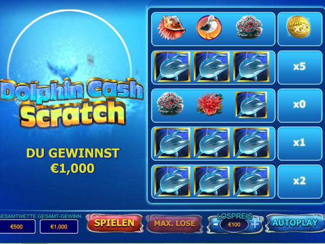 dolphin cash scratch rubbellose im eurogrand casino