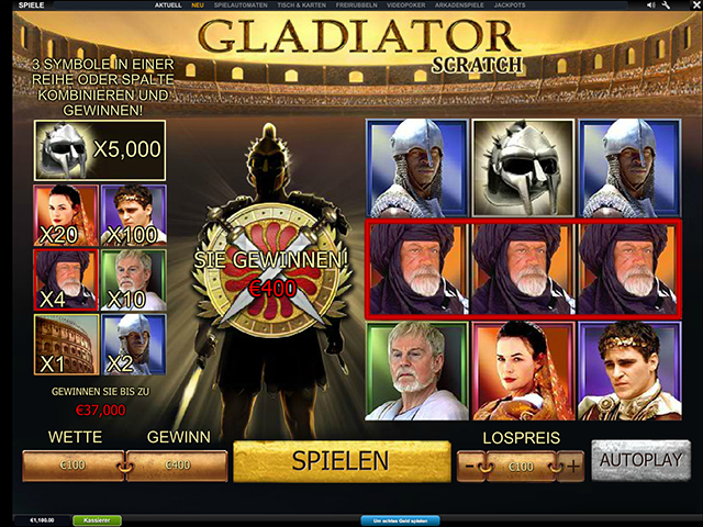 gladiator scratch casino spiel im winner casino