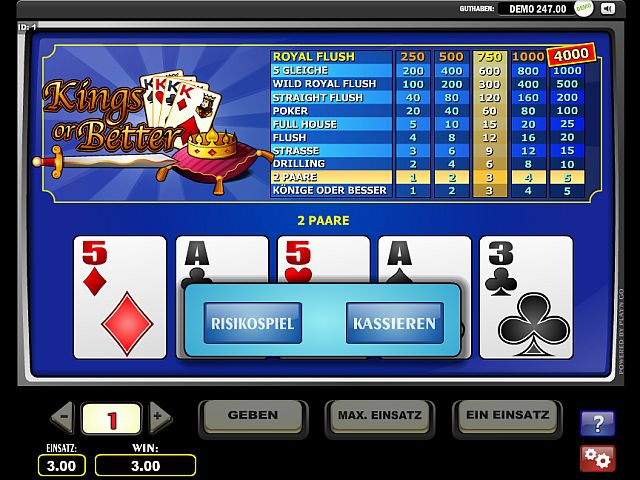 Kings or Better Videopoker